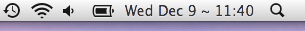 OS X's system menu icons